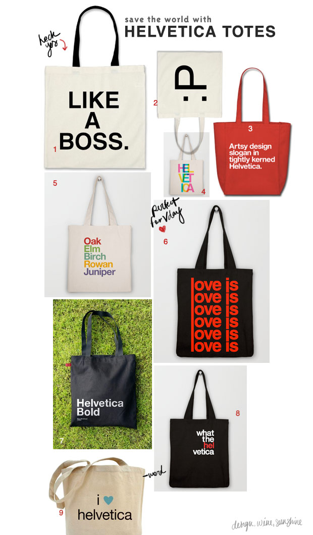 Design Wine Sunshine | Helvetica Tote Bags