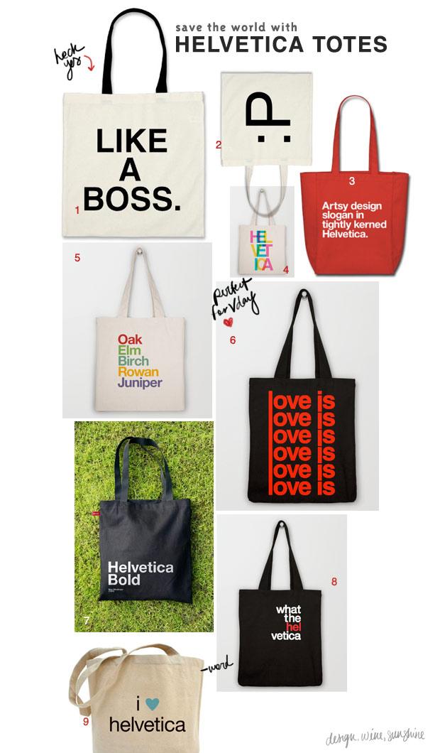 Design Wine Sunshine   Helvetica Tote Bags