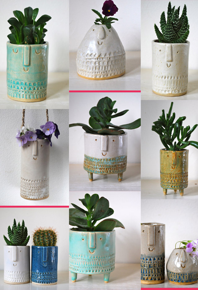 Atelier Stella London Cute Handmade Plant Pots xo~ Design Wine Sunshine