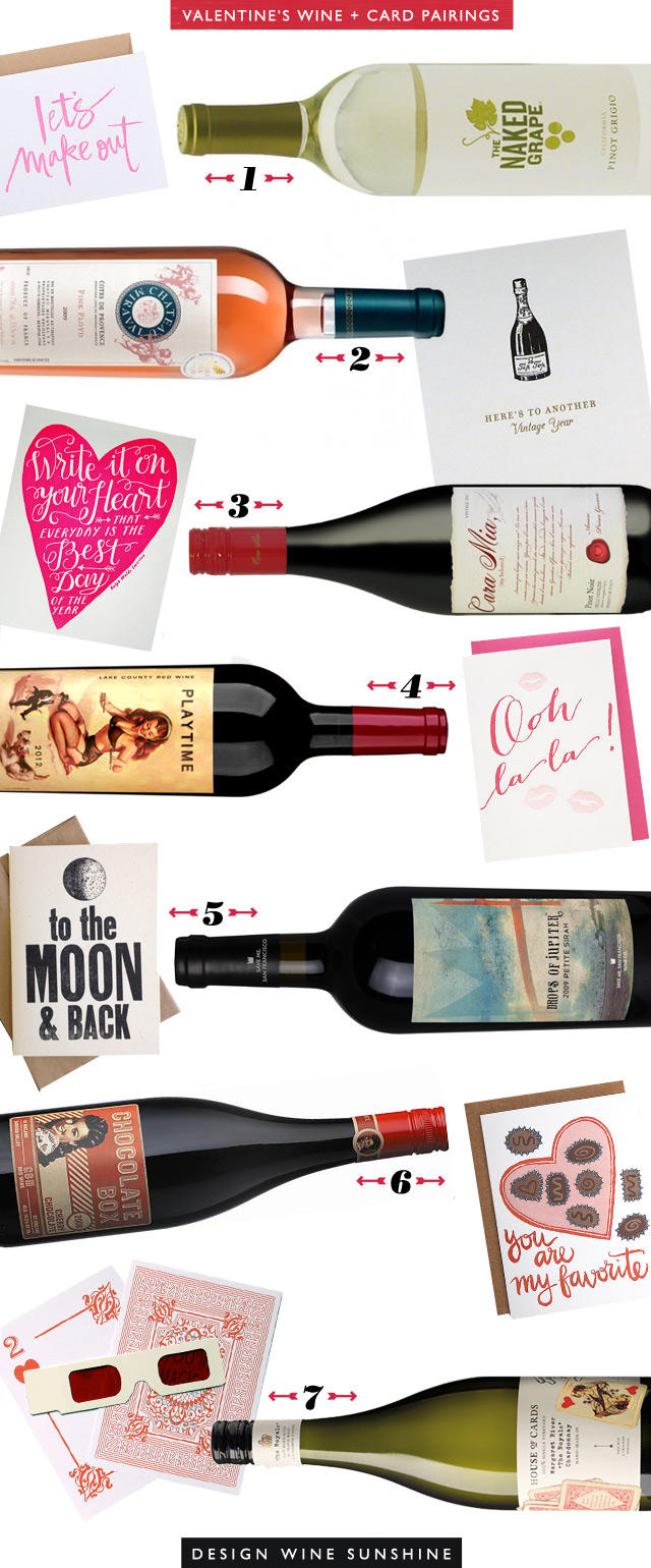 Valentine's Day Wine & Card Pairings - Design Wine Sunshine
